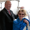 The King and Queen got to se Sydney's famous harbour from on board the schooner Boomerang. Photo: Lise Åserud, NTB scanpix