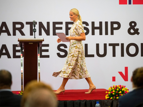 The Crown Princess gave the opening address at the business seminar in Addis Ababa. Photo: Vidar Ruud / NTB scanpix