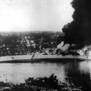 German forces attacked Norway early in the morning 9 April 1940. The cruiser Blücher carried troops towards Oslo, ahead of several other German vessels. Blücher was stopped by the Norwegian fortress at Drøbak, giving the Royal family and the members of Goverment sufficient time to get out of Oslo, ensuring a free Norwegian Government (Photo: Scanpix).