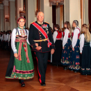 After the confirmation service, an official luncheon for 159 guests took place in the Banqueting Hall. King Harald accompanied The Princess. Photo: Lise Åserud / NTB scanpix