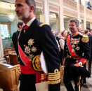 King Felipe leaves the Palace Chapel, followed by Crown Prince Frederik and Crown Princess Victoria. Photo: Lise Åserud / NTB scanpix