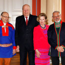 President Egil Olli (left) and Jarle Jonassen of of the Sami Parliament were among the congratulators at the Palace (Photo: Erlend Aas / NTB scanpix)
