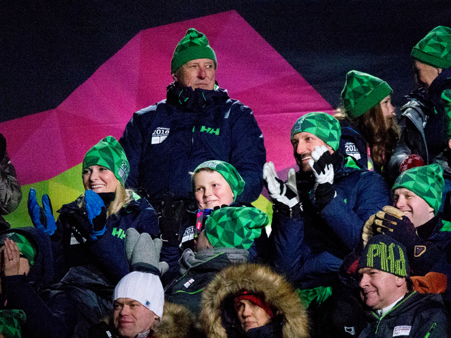 The Royal Family in the stands during the opening of the Youth Olympic Games. Photo: Geir Olsen / NTB scanpix
