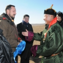 UNDP Goodwill Ambassador HRH Crown Prince Haakon, and Governor Jargal of Khentii province are greeted by nomadic herder Gantuya. For editorial use only - not for sale. Photo: D. Rentsendorj, MONTSAME news agency. Picture size: 2144 x 1424 px 1,92 MB.