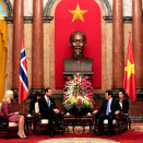 The day began with a meeting withthe president of Vietnam, Mr Truong Tan Sang. Photo:  Lise Åserud, NTB scanpix