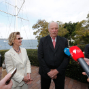 The King and Queen met the media after the reception at the yacht club. Photo: Lise Åserud, NTB scanpix