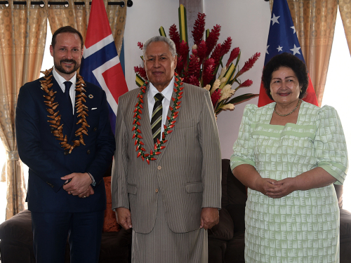 Crown Prince Haakon meeting Samoa's Head of State and First Lady. Photo: Sven Gj. Gjeruldsen, The Royal Court