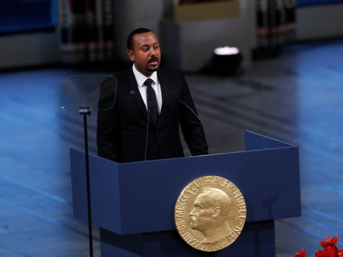Abiy Ahmed gives his Nobel lecture. Photo: Terje Bendiksby / NTB scanpix