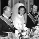 King Olav, Crown Prince Harald and Crown Princess Sonja during the gala dinner (Archive, Scanpix)