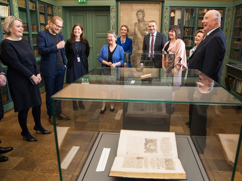 Some of the treasures of the National Library were exhibited for the occasion. Photo: Håkon Mosvold Larsen / NTB scanpix