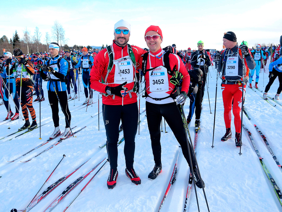 Crown Prince Haakon and Crown Prince Frederik before the start of the Birkenbeinerrennet ski race in 2017. Photo: Geir Olsen / Birken / NTB