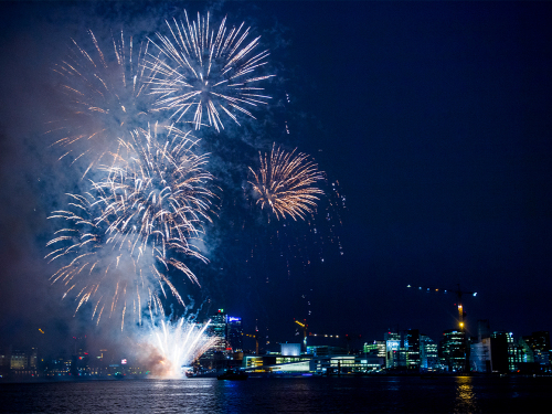 The gala banquet was concluded with a fireworks display outside the Oslo Opera House. Photo: Jon Olav Nesvold / NTB scanpix
