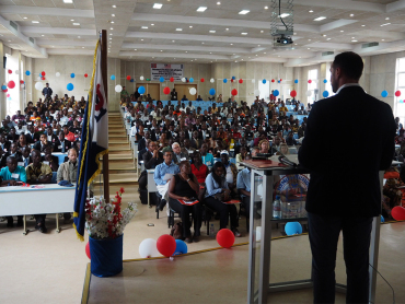 Crown Prince Haakon spoke about UNDP and the work to promote the UN Sustainable Development Goals at the University of Liberia. Photo: Christian Lagaard, The Royal Court.