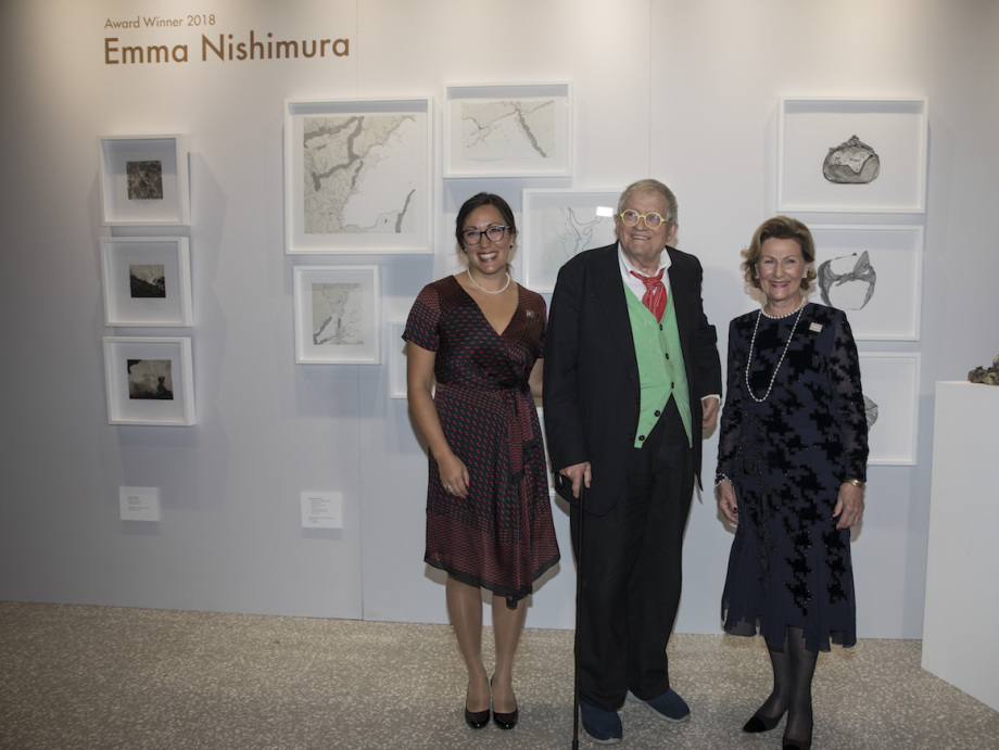 Queen Sonja with Emma Nishimura and David Hockney. Photo: Nina Rangøy / NTB scanpix