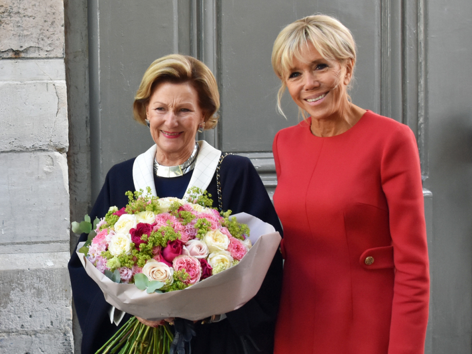 Queen Sonja and French President's wife Brigitte Macron. Photo: Liv Anette Luane, The Royal Court