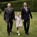 King Harald, Crown Prince Haakon and Princess Ingrid Alexandra 2012. Published 21 January on  the occasion of The Princess' 9th birthday. Handout picture from The Royal Court. For editorial use only, not for sale. Photo: Julia Marie Naglestad / The Royal Court.