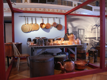 The exhibition shows typical work stations, tools and equipment. This is from