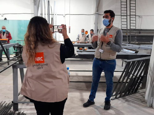 Raed, originally from Jordan, spoke with the Crown Prince from Lebanon, where he is contributing to the recovery effort after the huge explosion. Photo: NRC