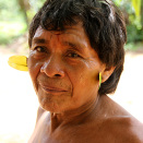 A Yanomami Indian elder has adorned himself with leaves for the occasion.  (Photo: Rainforest Foundation Norway / ISA Brazil)