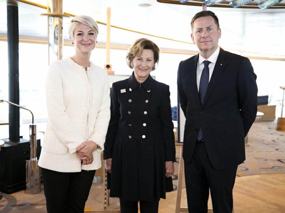Julie Ebbing is one of the artist selected. She was in attendance at the launch this Sunday, where Qeen Sonja and Hurtigruten CEO Daniel Skjeldam presented the partnership. Photo: Pontus Höök, Hurtigruten