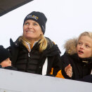 Crown Princess Mette-Marit watch ski jumping, large hill, with her sons Marius and Prince Sverre Magnus (Photo: Kyrre Lien, Scanpix)