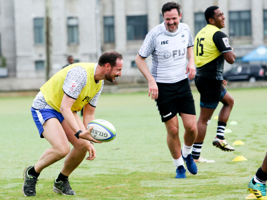 Crown Prince Haakon and Dag-Inge Ulstein – playing on separate rugby teams. Photo: Karen Setten / NTB scanpix