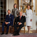 The King and Queen with their son and daughter, Crown Prince Haakon and Princess Märtha Louise.  These photographs were taken on the occasion of their 80th anniversary.  Photo: Lise Åserud, NTB scanpix