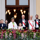 The Royal family came out on the Palace balcony with their guests at 18:30. Photo: Jon Olav Nesvold / NTB scanpix