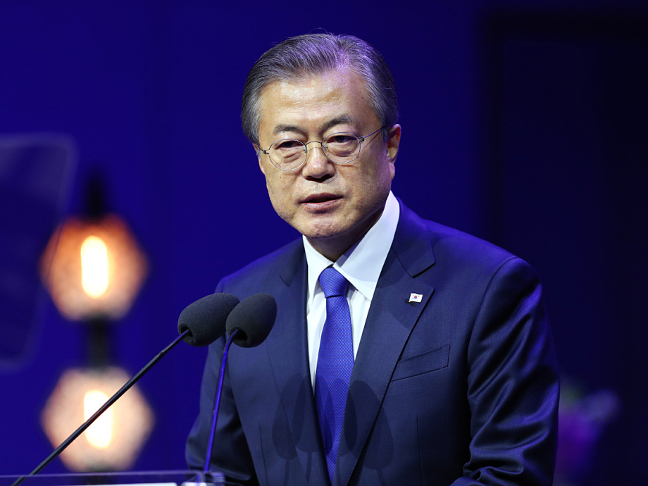 President Moon spoke in the University of Oslo Aula about the road ahead towards lasting peace and stability on the Korean Peninsula. Photo: Ryan Kelly / NTB scanpix.