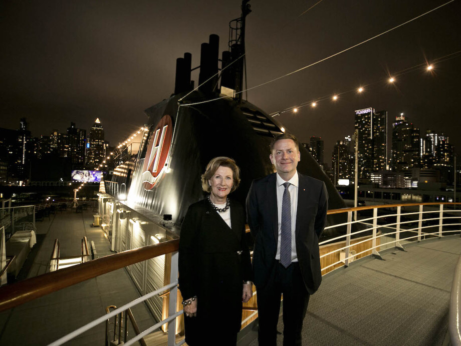 Queen Sonja and Hurtigruten CEO Daniel Skjeldam announced the partnership on board the MS Fram. Photo: Pontus Höök, Hurtigruten