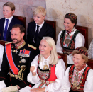 The Royal Family was seated to the right hand side of the alter, the godparents on the left. Photo: Vidar Ruud, NTB scanpix