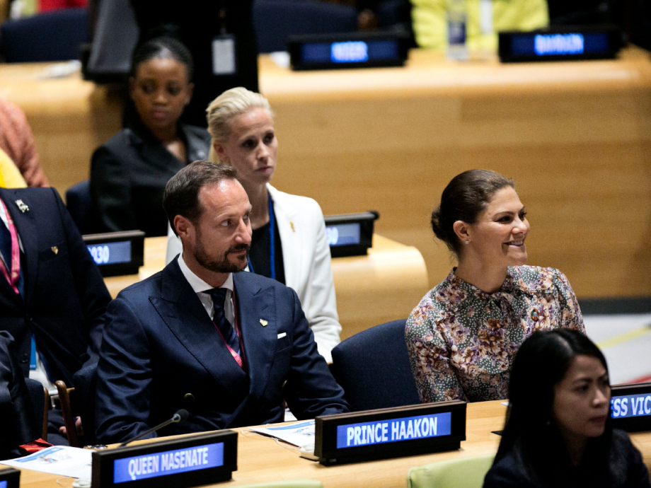 Crown Prince Haakon and Crown Princess Victoria of Sweden at the launch of the UN Youth Strategy. Photo: Pontus Höök / NTB scanpix.