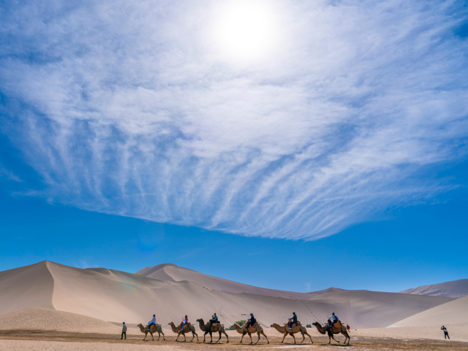 Once an important stop for travellers along the Silk Road, Dunhuang today attracts many tourists. Photo: Heiko Junge, NTB scanpix