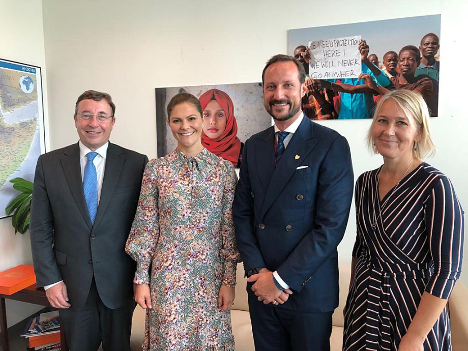 From left: UNDP Administrator Achim Steiner, Crown Princess Victoria, Crown Prince Haakon and UNDP Director of Bureau for External Relations and Advocacy Ulrika Modeer. Photo: UNDP.