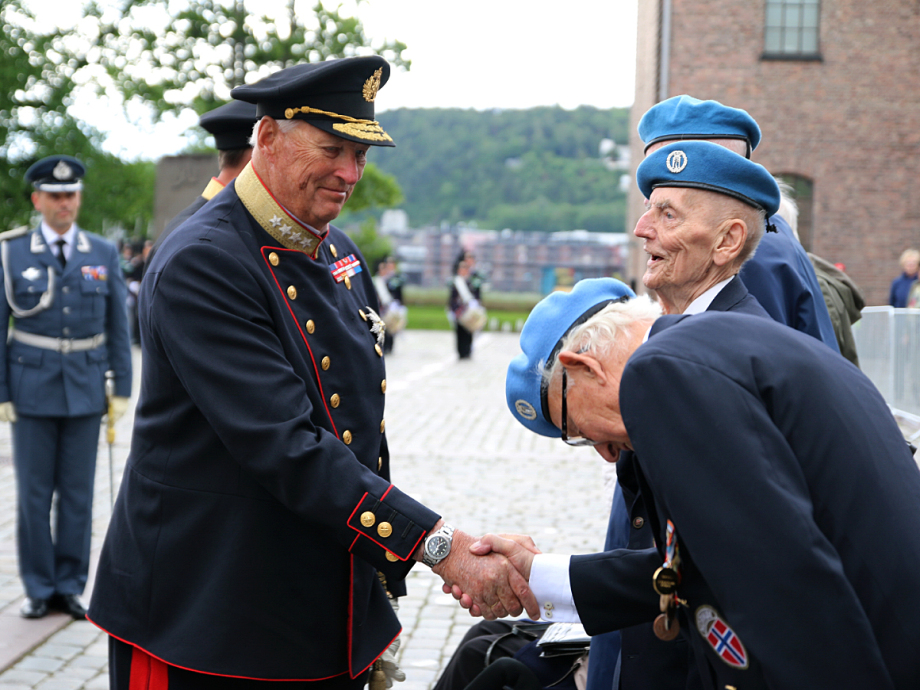 King Harald greets veterans of the NORMASH field hospital. Photo: Sara Svanemyr, The Royal Court.